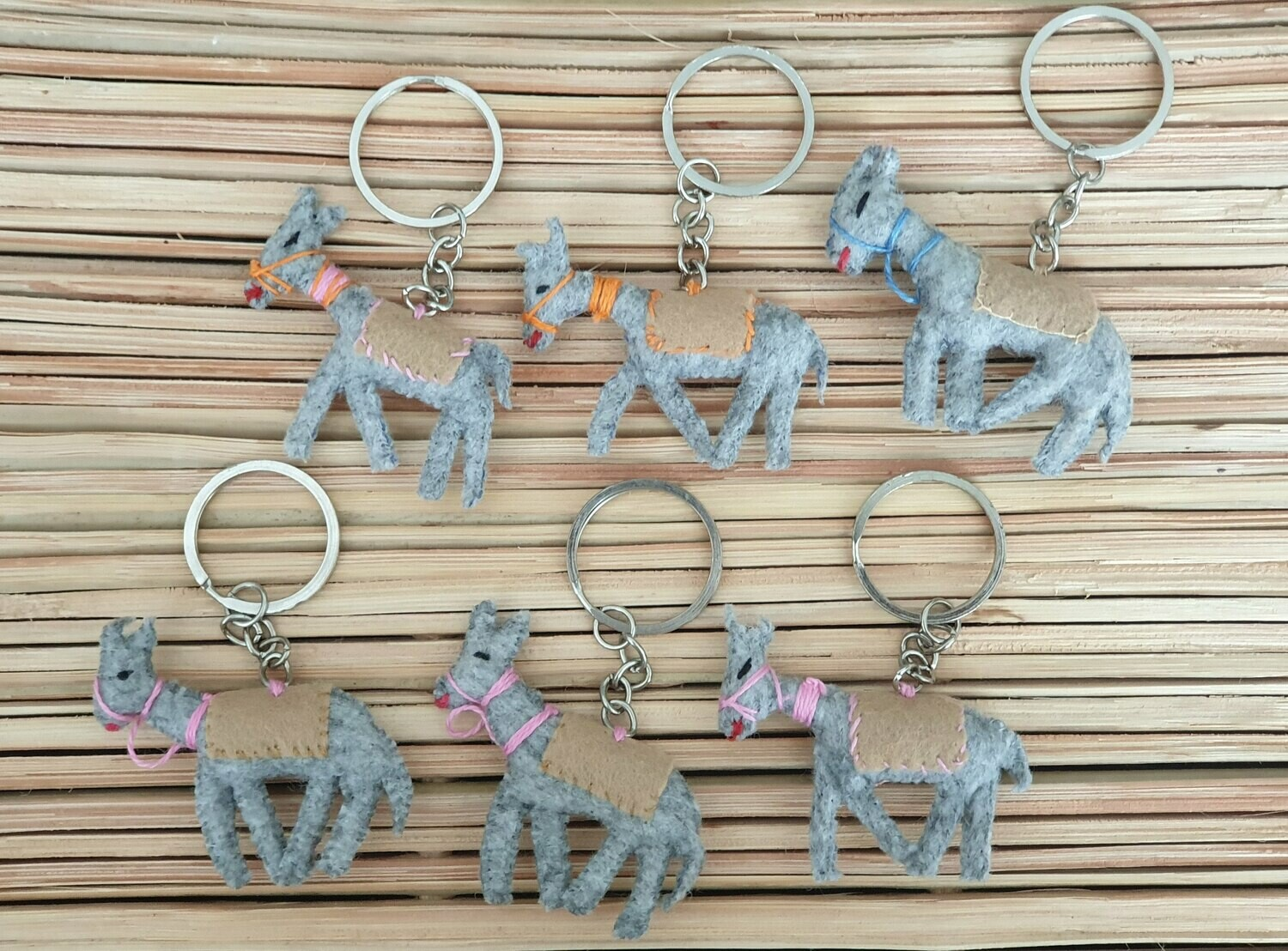 Donkey with Beige Saddle-Rug Keychain