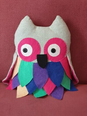 Feathered Owl Cushion