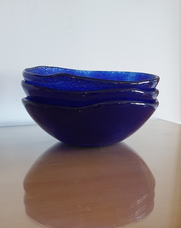 Royal Blue Small Fused Glass Bowl