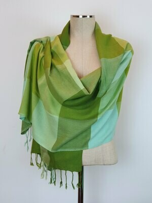 VC Squares Green & Light Blue Shawl