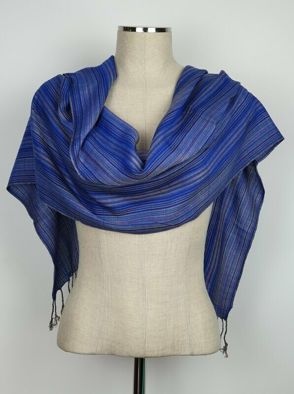 Blue Stripes Small Scarf
