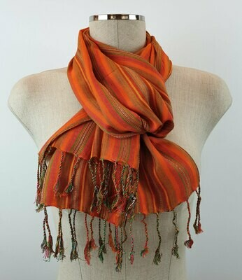 Fuchsia, Orange & Green  Stripes Small Scarf