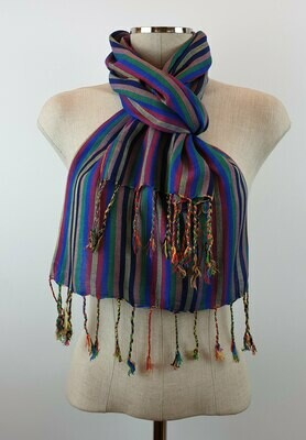 Dark Rainbow Stripes (Blueish Hue) Small Scarf
