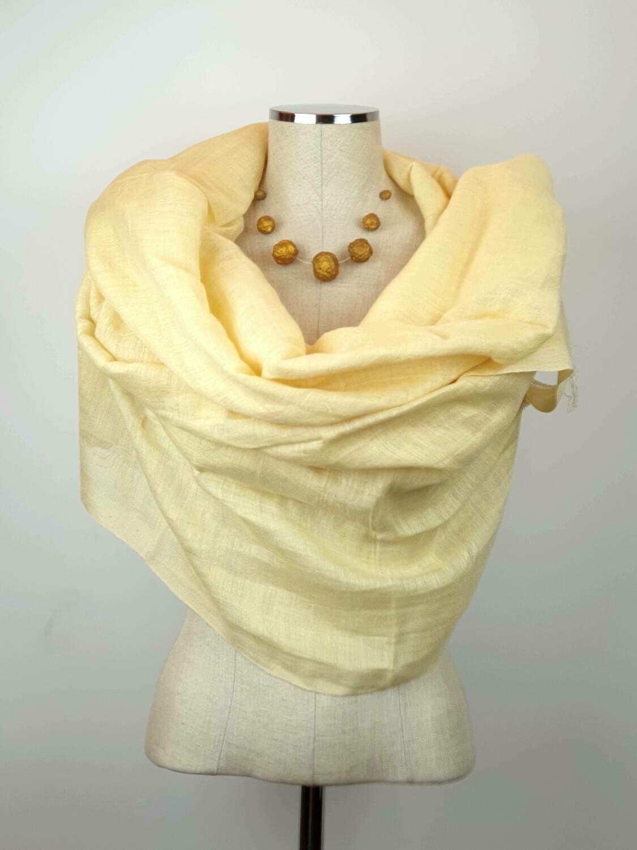 Linen Shawl: Yellowish Cream