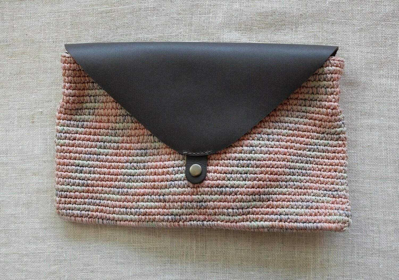 Clutch Bag: Grey & Pink