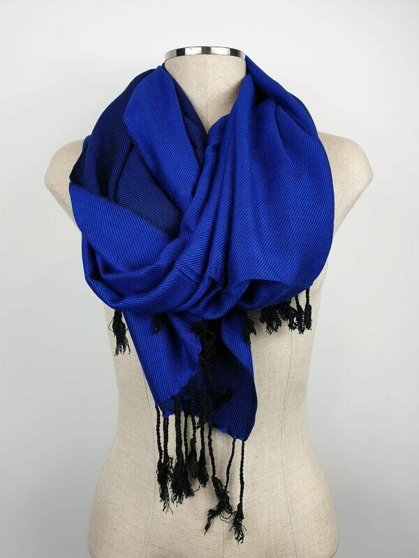 Doubleface Shawl Royal Blue x Black, Viscose