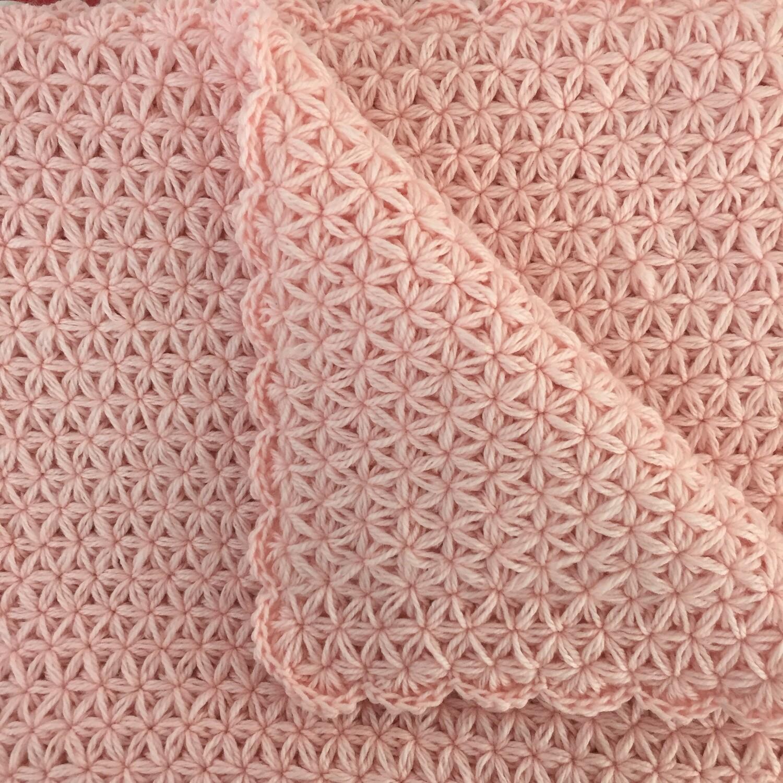 Baby Blanket: Jasmine Stitch: Pink