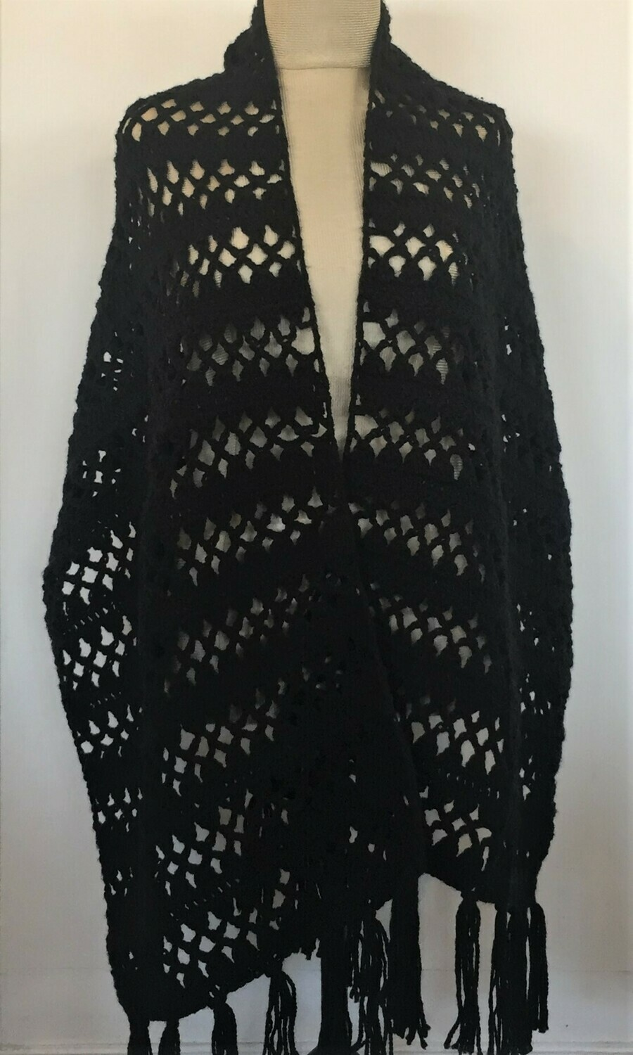 Black wool crochet shawl 52X180cm