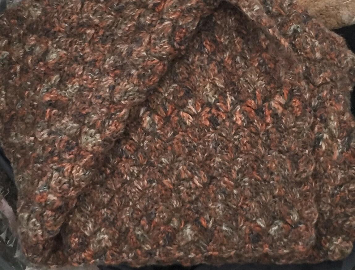Mini Blanket: Navy Blue, Rust & Olive Mohair
