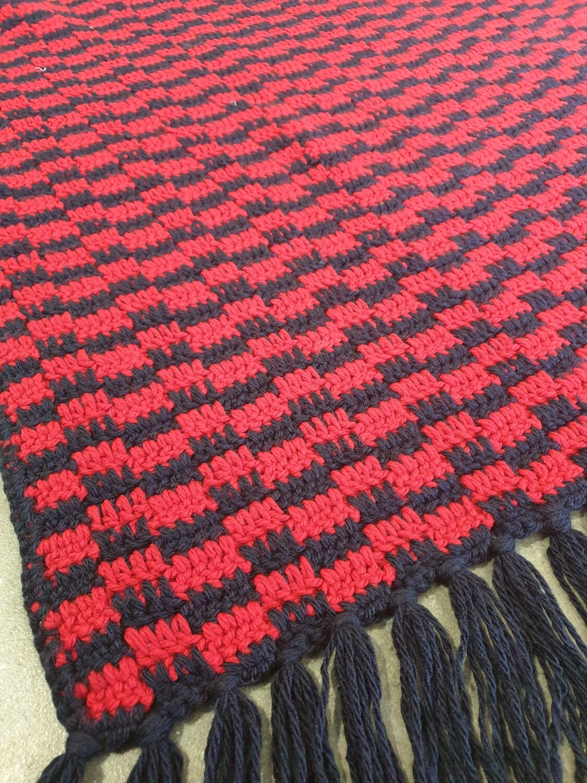 Blanket with Fringe: Red & Navy Blue