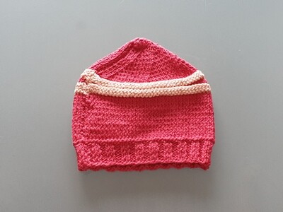 Knit Cotton Cap Red & Pink (Large)