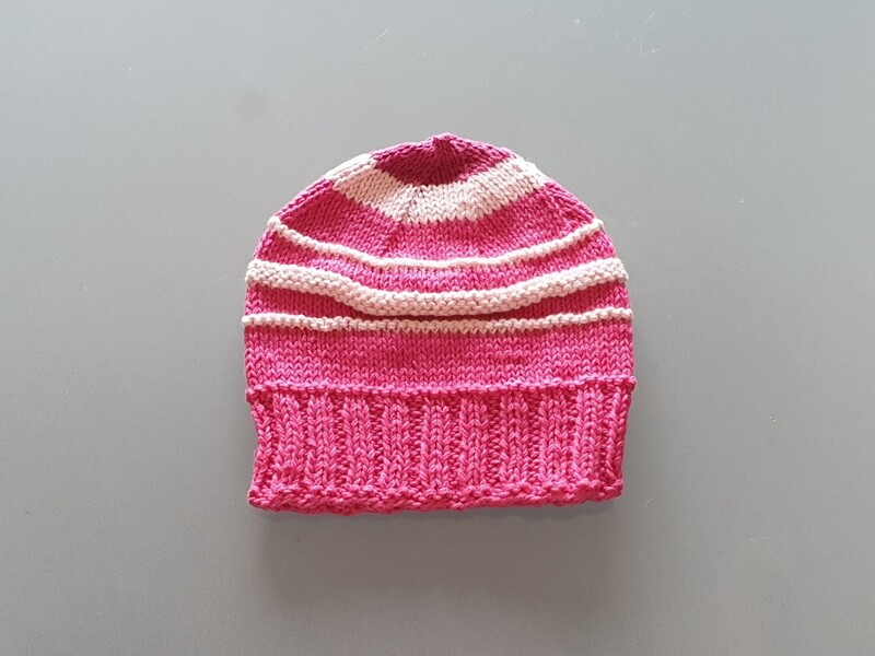 Knit Cotton Cap Fuchsia & Pink