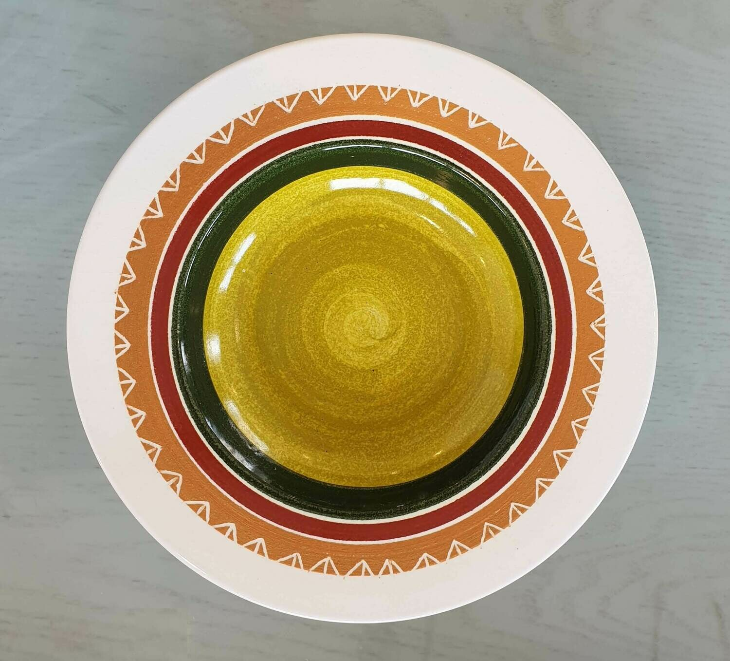 Semi Deep Plate: Pea Colored Center 3