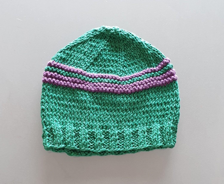 Knit Cotton Cap: Green & Purple