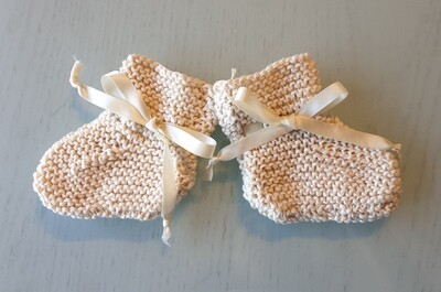 Baby Booties: Off White with Off White Ribbon