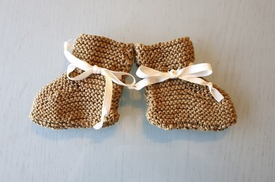 Baby Booties: Honey Brown with Off White Ribbon