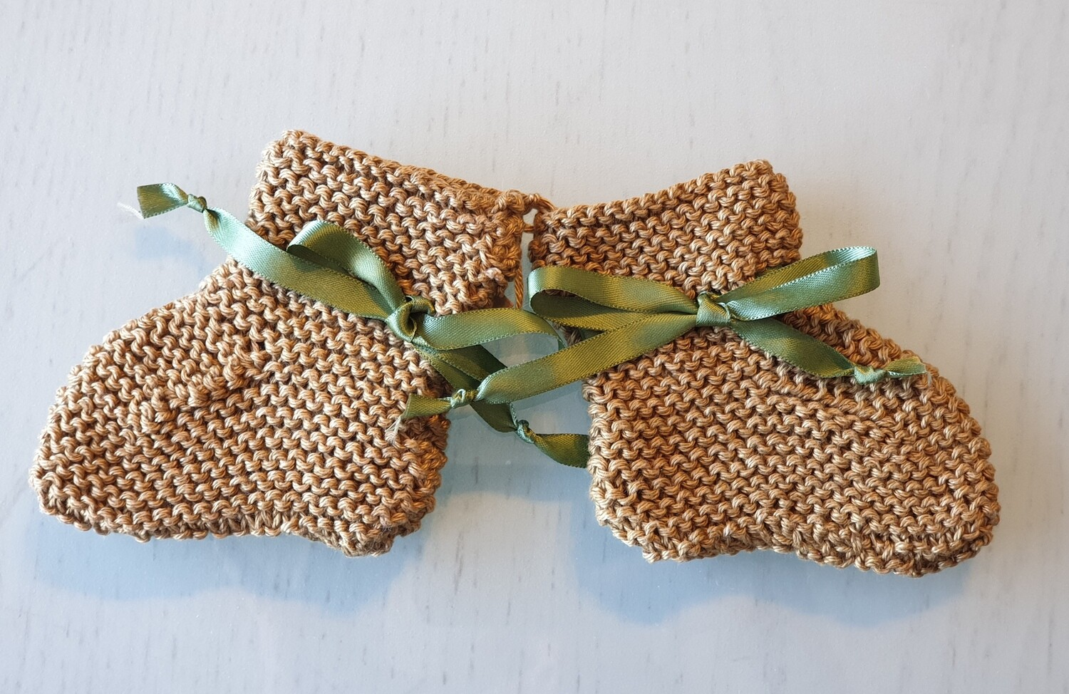 Baby Booties: Honey Brown with Olive Ribbon
