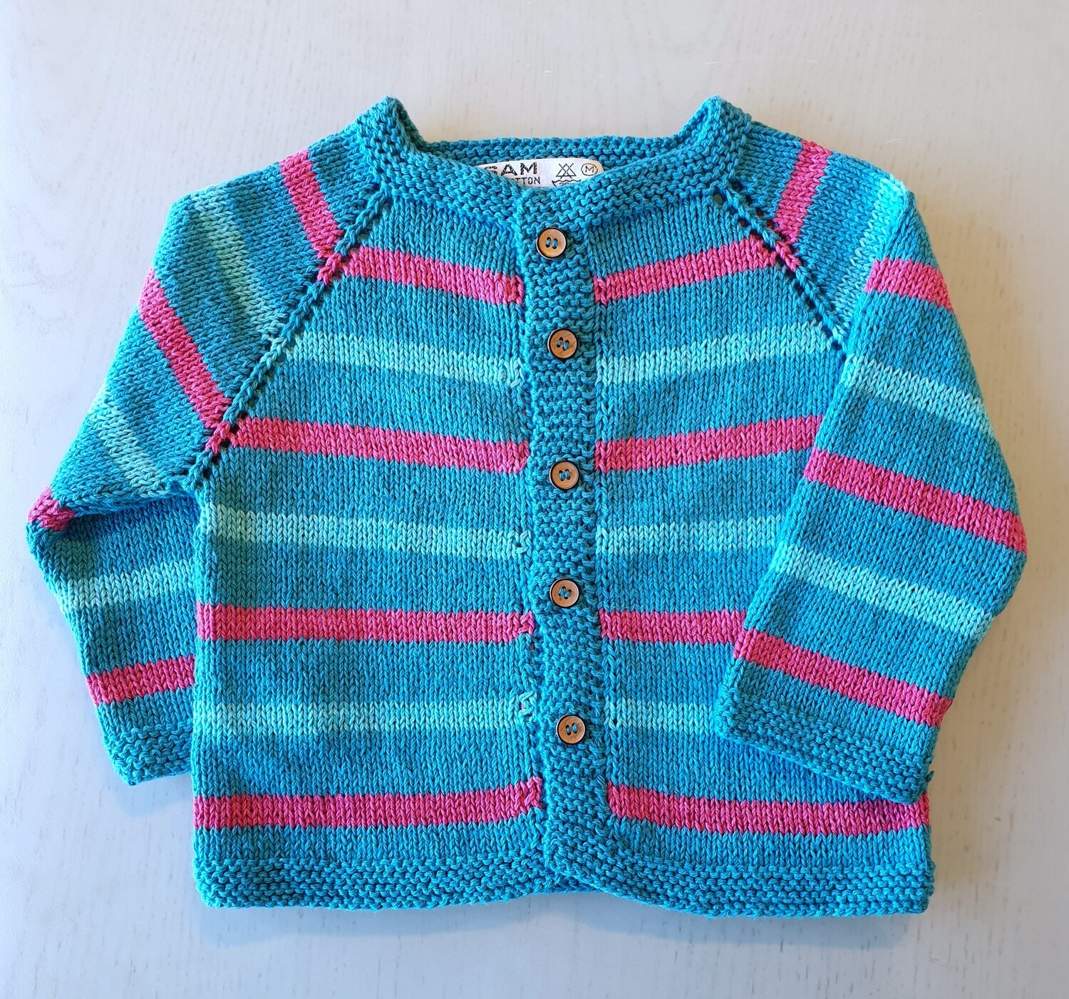 Turquoise & Fuchsia Striped Jacket (Medium)