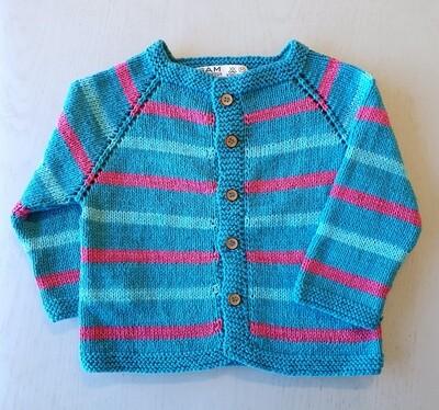 Turquoise & Fuchsia Striped Jacket (Medium)