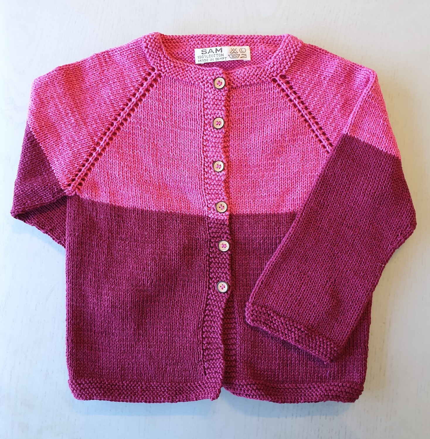 Two-tone Fuchsia & Burgundy Striped Jacket (Large)