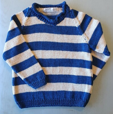 Blue & Cream Striped Pullover (Large)
