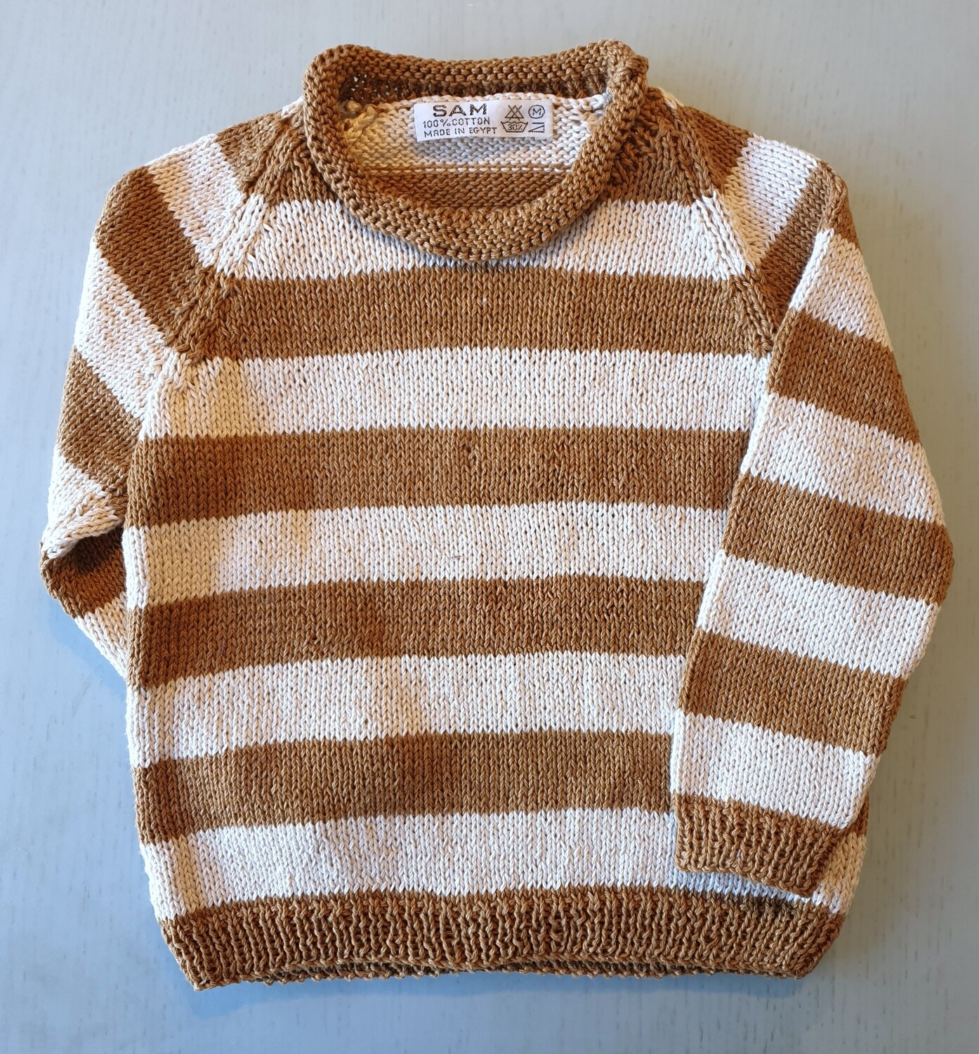 Caramel Brown & Cream Striped Pullover (Medium)