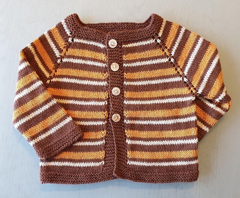 Brown & Orange & White Striped Jacket (Medium)