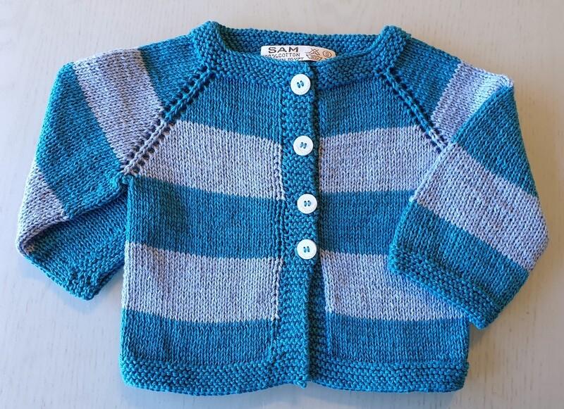 Petrol Blue & Light Blue Striped Jacket (Small)