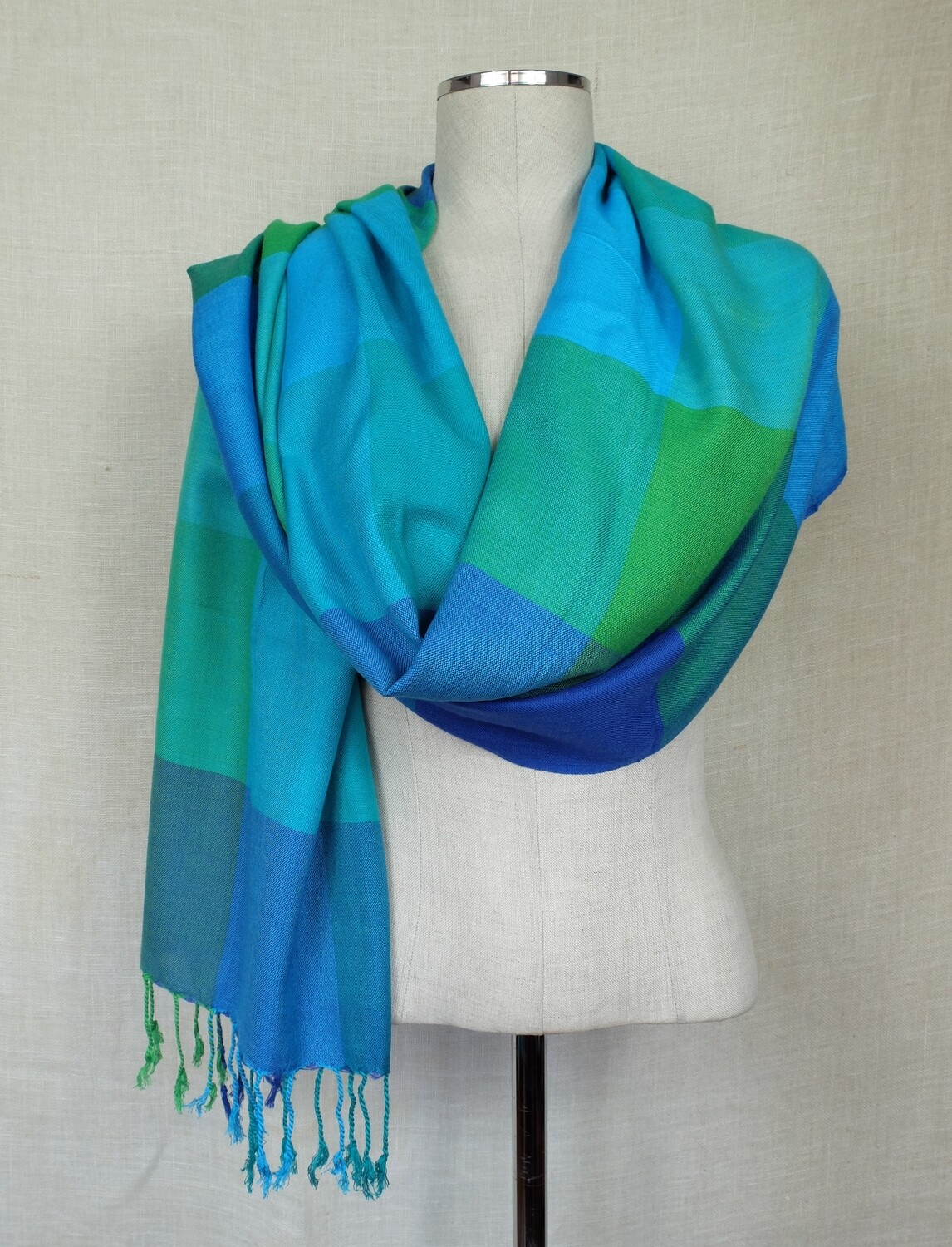 VC Squares Turquoise, Blue & Green Shawl