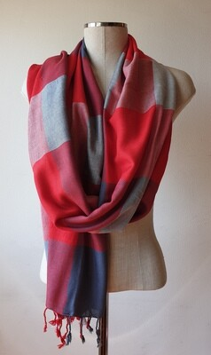 VC Red, White & Grey Shawl