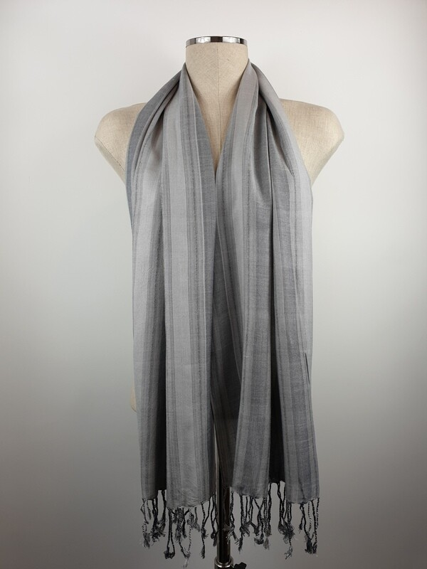 Grey & Silver Wide Stripes Small Scarf