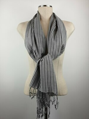 Grey & Silver Thin Stripes Small Scarf