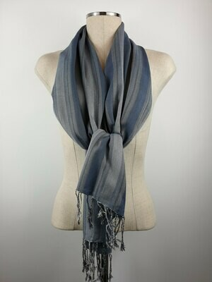 Teal Wide Stripes Small Scarf