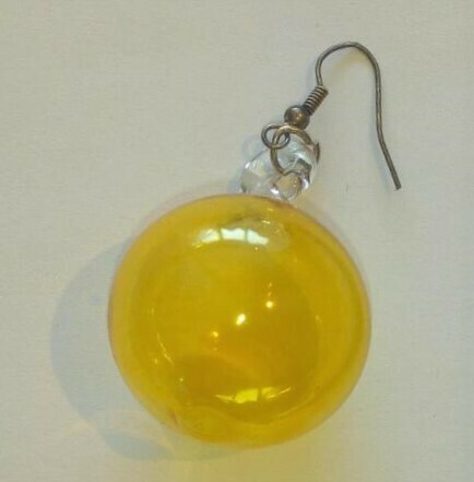 Glass Earrings Round: Yellow