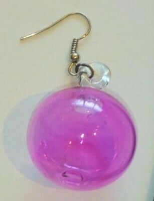 Glass Earrings Round: Fuchsia