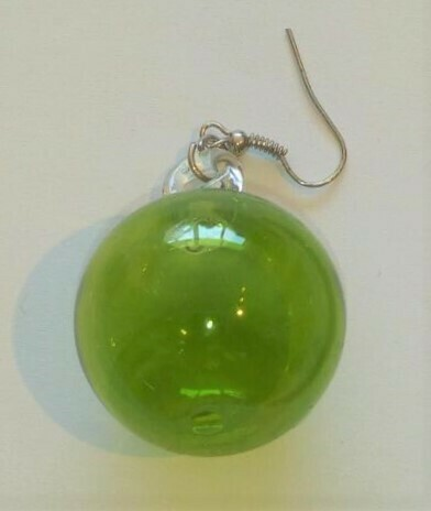 Glass Earrings Round: Green
