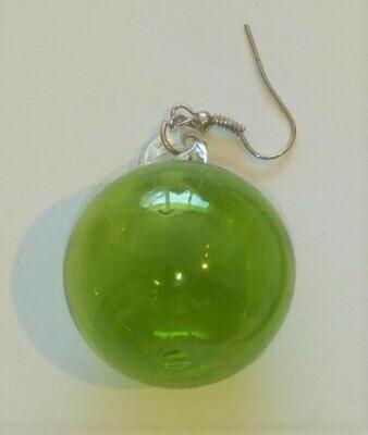 Glass Earrings Round: Green