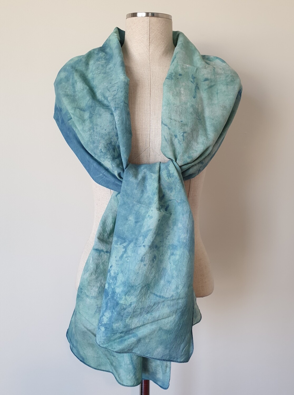 Hand-dyed Ombre Scarf: Blue Aragonite
