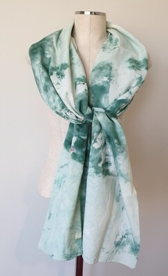 Hand-dyed Ombre Scarf: Green Quartz