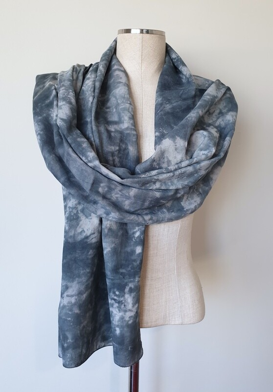 Hand-dyed Ombre Scarf: Blue Tiger's Eye