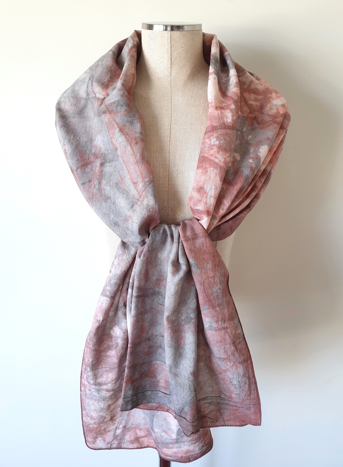 Hand-dyed Ombre Scarf: Rhodonite