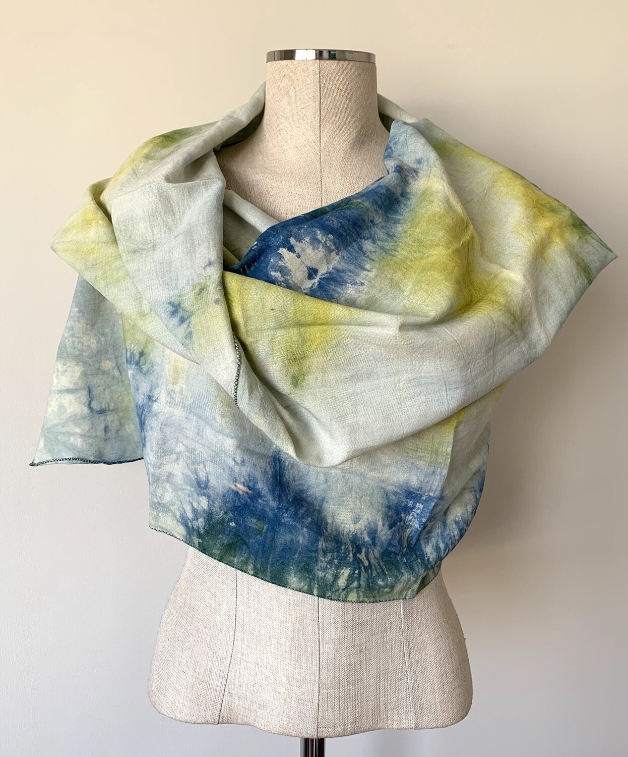 Hand-dyed Ombre Scarf: Citrine & Lapis Lazuli