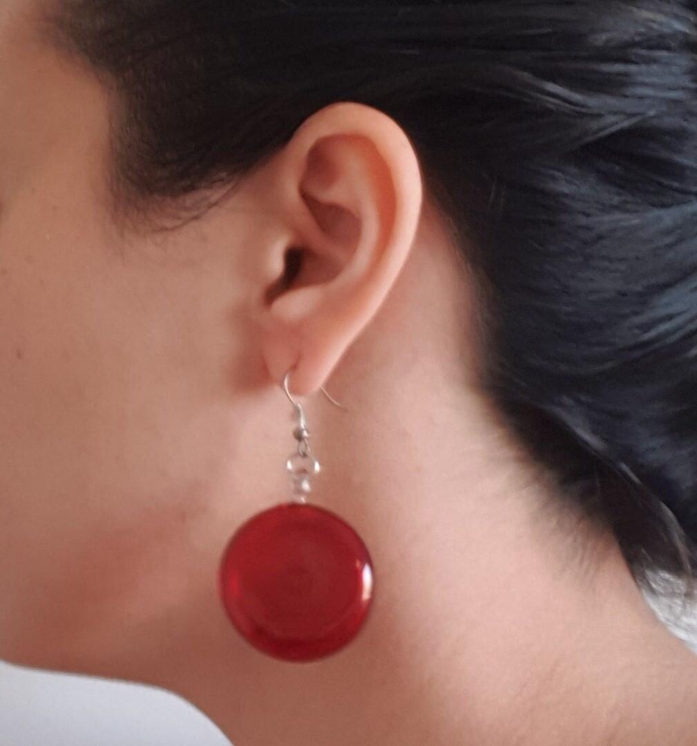 Glass Lollipop Earrings: Red