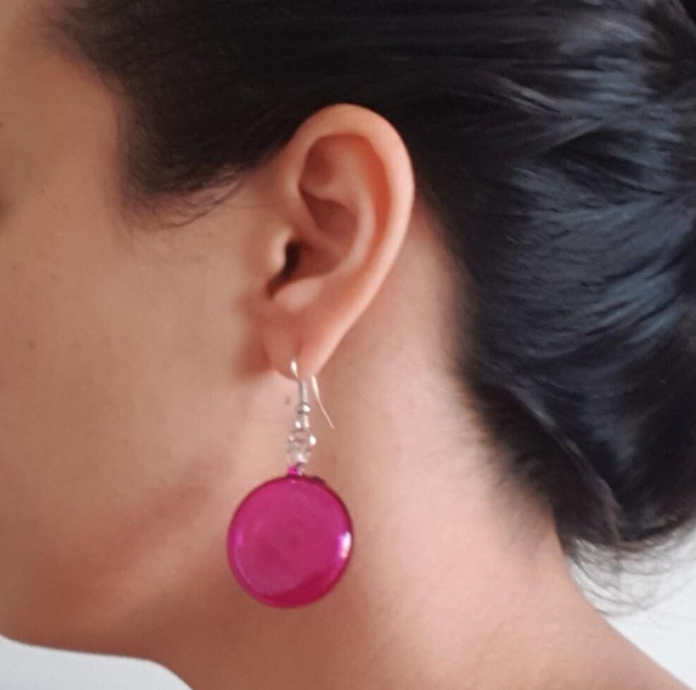 Glass Lollipop Earrings: Fuchsia