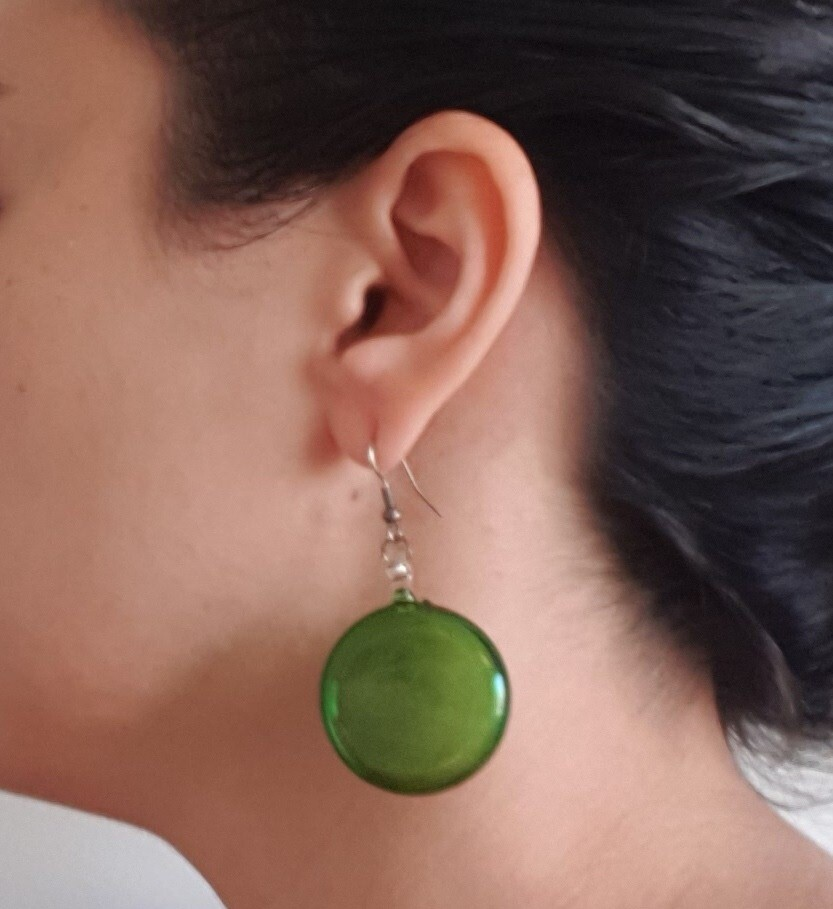 Glass Lollipop Earrings: Green