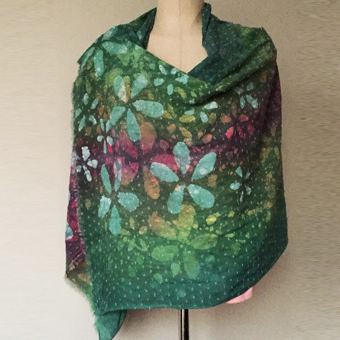 Samar Hassanein Batik Green Shawl with flowers