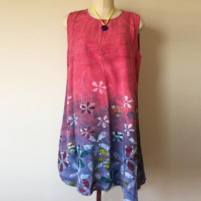 Samar Hassanein Batik Pink Dress with flowers