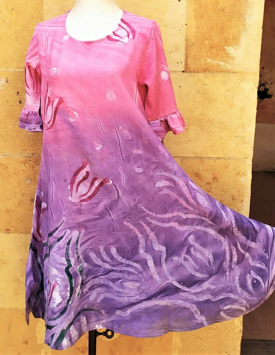 Samar Hassanein Pink and Purple dress with sleeves