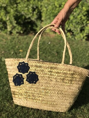 Straw Bag with Navy Blue Crochet Design