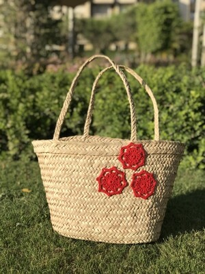 Straw Bag with Red Crochet Design